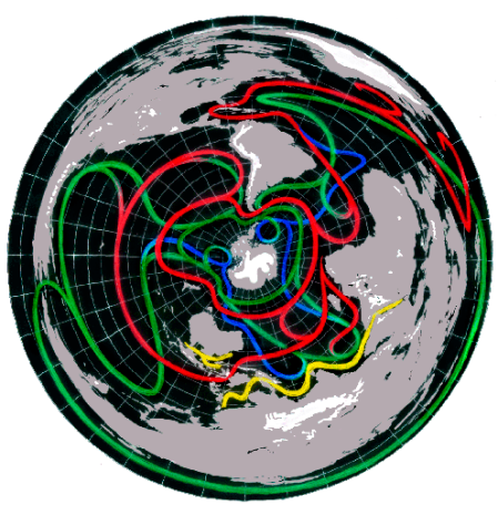 Earth's Ocean Currents with South Pole at Center