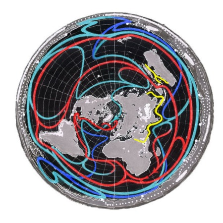 Earth's Ocean Currents with North Pole at Center